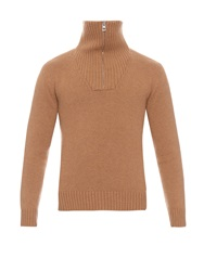 Loewe Double Zip Collar Camel Hair Sweater