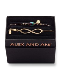 Alex And Ani Infinity Pull Chain Bracelet Gift Set Gold
