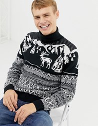Burton Menswear Roll Neck Christmas Jumper With Fairisle Stags In Navy