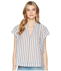 Kenneth Cole New York V Neck Tuck Top Avenue Stripe Clothing White