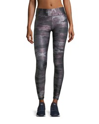 Terez Heathered Camo Tall Band Full Length Tights Red Gray