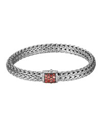 Classic Chain 7.5Mm Medium Braided Silver Bracelet Red Sapphire John Hardy