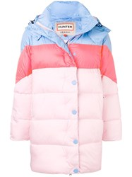 Hunter Colour Block Padded Coat Pink And Purple