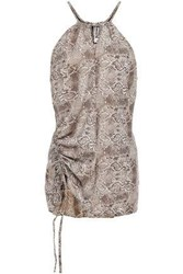 W118 By Walter Baker Woman Lace Up Snake Print Crepe Halterneck Top Neutral