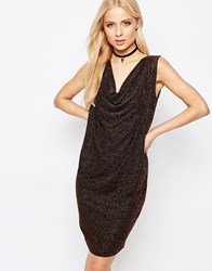 Ichi Kamia Dress With Cowl Neck And V Back Copper Brown