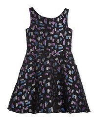 Zoe Confetti Night Sleeveless Metallic Dress Size 7 16 Black