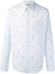 Gucci Bee Embroidered Shirt Blue