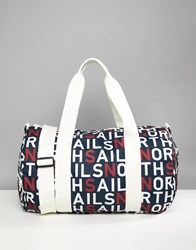 North Sails Large Duffle Bag In All Over Logo Print Combo 1 Navy