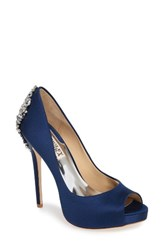 Badgley Mischka Women's 'Kiara' Crystal Back Open Toe Pump Navy Satin