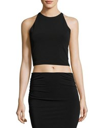 Alice Olivia Theodora Fitted Lace Back Crop Top Black