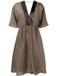 Brunello Cucinelli V Neck Midi Dress Brown