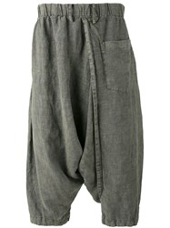 Issey Miyake Men Drop Crotch Cropped Trousers Men Linen Flax 3 Green