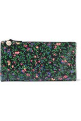Clare V. Woman Suede Trimmed Floral Print Leather Pouch Black