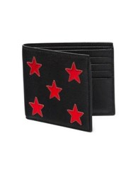 Saint Laurent Star Lambskin Leather Bifold Wallet Black Red Black Grey