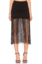 Karina Grimaldi Fringe Mini Skirt Black