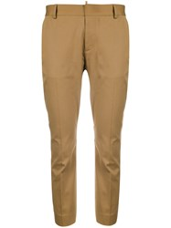 Dsquared2 Cropped Tailored Trousers Cotton Polyester Spandex Elastane Brown
