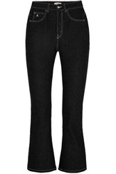 Attico Cropped High Rise Kick Flare Jeans Black