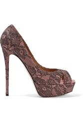 Valentino Embellished Lace And Leather Peep Toe Pumps Pastel Pink
