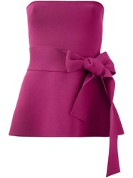 Scanlan Theodore Belted Strapless Knit Top Pink And Purple