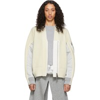 Sacai Off White Wool Zip Cardigan