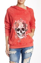 Gypsy Heart Skull And Flowers Hoodie Red