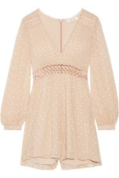 Zimmermann Bowerbird Empire Embroidered Crinkled Silk Georgette Playsuit Beige
