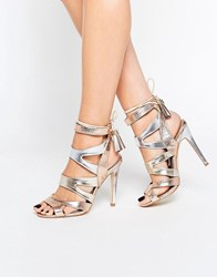 Miss Kg Frenchy Metal Gold Metallic Caged Heeled Sandals Gold