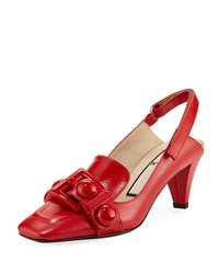 N 21 Buckle Slingback Calf Leather Pumps Red