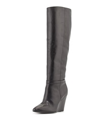 Pour La Victoire Lucia Leather Wedge Knee Boot Black