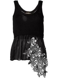 N 21 No21 Layered Floral Tank Black