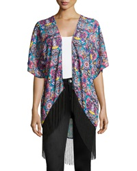 Romeo And Juliet Couture Kaleidoscope Print Fringe Hem Kimono Teal Multi