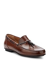 Saks Fifth Avenue Made In Italy Tassel Leather Moccasins Tan