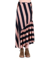 Stella Mccartney Gathered Ruffle Wide Striped Maxi Skirt Pecan Ink Women's Pecan And Ink
