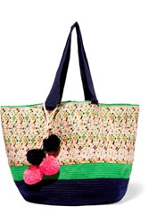 Sophie Anderson Jonas Pompom Embellished Woven Tote Beige