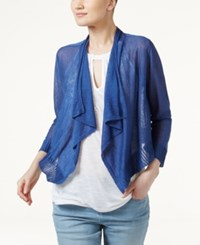 Inc International Concepts Linen Blend Cropped Cardigan Only At Macy's Sail Blue