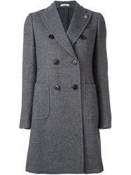Lardini Peaked Lapel Coat Grey