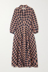 The Great Western Checked Cotton Blend Midi Dress Navy