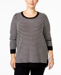 Charter Club Plus Size Geo Stripe Sweater Only At Macy's Deep Black