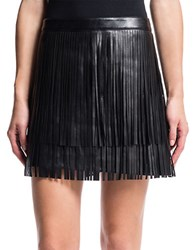 1.State Faux Leather Fringe Mini Skirt Rich Black