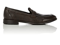 Barneys New York Men's Washed Leather Penny Loafers Dark Brown Brown