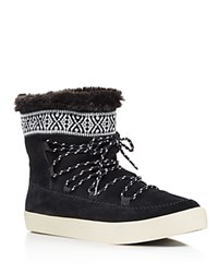 Toms Alpine Suede And Faux Fur Slipper Booties Black