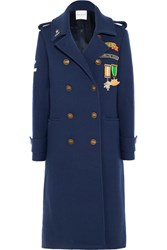 Mira Mikati Scout Patch Embellished Wool Blend Gabardine Coat Navy