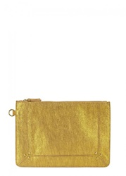 Jerome Dreyfuss Womens Clutches Jerome Dreyfuss Popoche Gold Suede Clutch