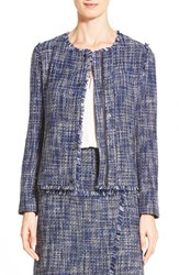 Petite Women's Halogen Zip Front Tweed Jacket Blue Black Tweed