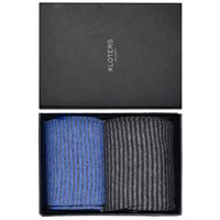 Kloters Milano Light Blue And Grey Striped Socks Pack Blue Grey