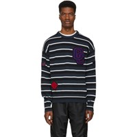 Opening Ceremony Black And Navy Striped Varsity Sweater