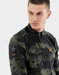 Superdry Surplus Goods Shirts In Camo Print Green