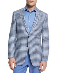 Canali Sienna Contemporary Fit Check Sport Coat Light Blue