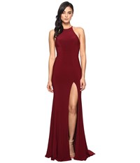 Faviana Jersey Halter W Back Cut Out 7976 Wine Women's Dress Burgundy