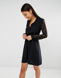 Club L Lace Sleeve And Collar Detail Shirt Dress Black